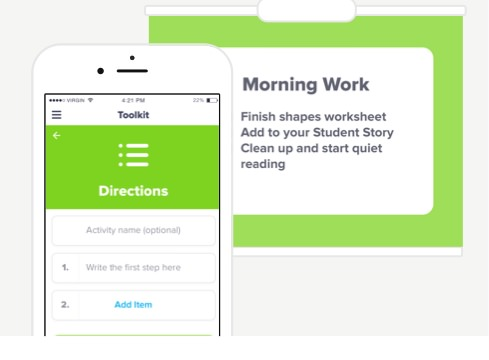 Classroom Directions App - A Tool to Display Directions for